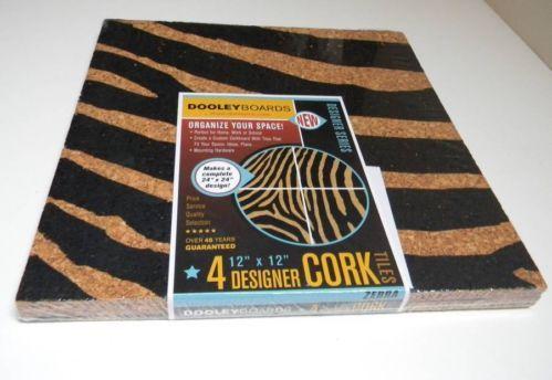 "Cork Board Dooley Boards Designer Cork Tiles 4 12"" x 12"" Zebra Print NIP   eBay"