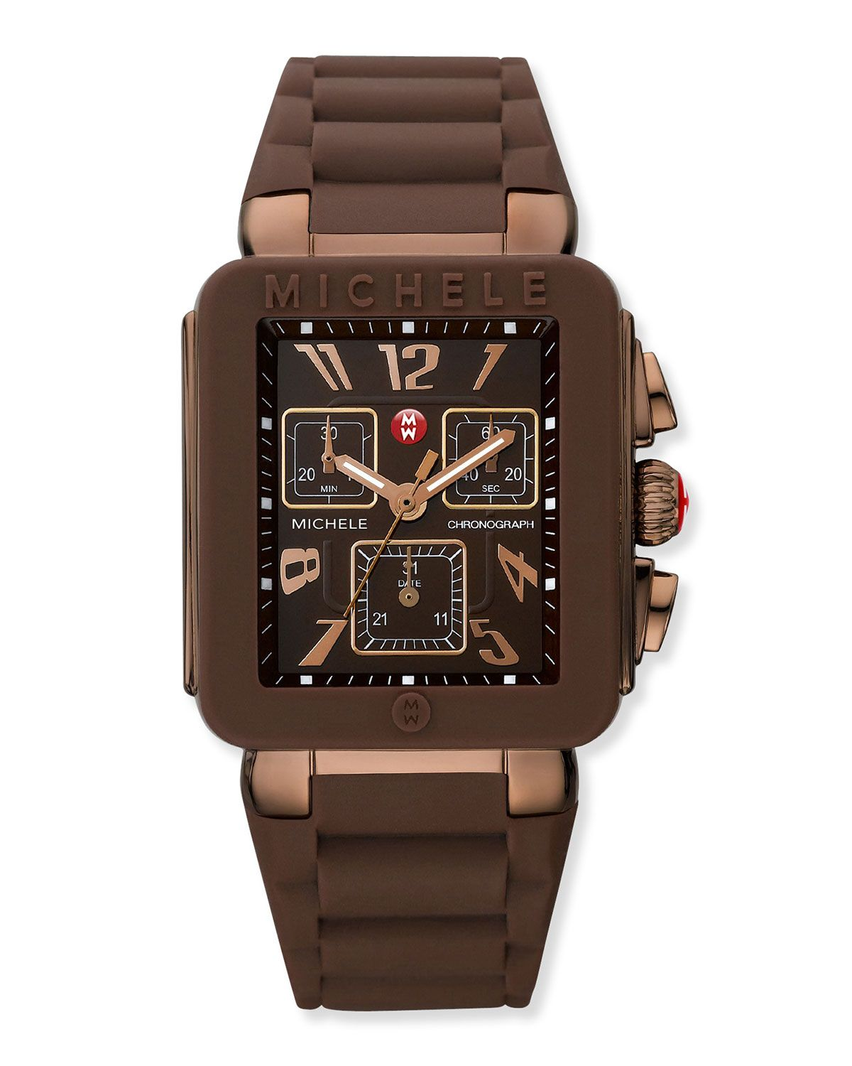 Michele Park Jelly Bean Watch With Brown Silicone Strap