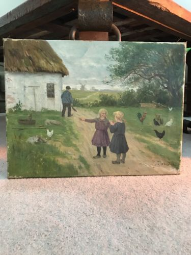 #art Antique Axel Jensen Rare Oil On Canvas Painting please retweet
