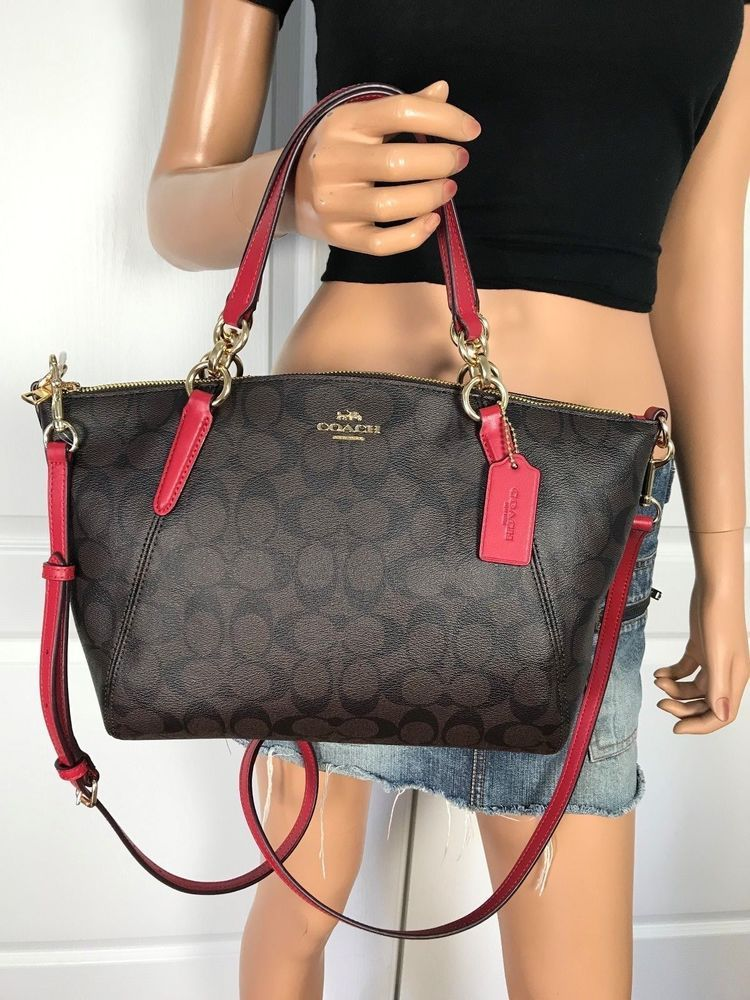 8aef149d384c COACH F28989 BROWN RED SMALL SIGNATURE PVC LEATHER SHOULDER BAG AUTHENTIC  $295 #Coach #ShoulderBag