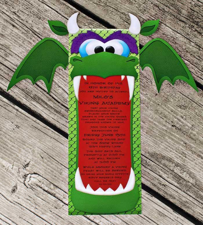 Darling invitation at a Viking and Dragon themed birthday party via Kara's Party Ideas KarasPartyIdeas.com Printables, invitation, cake, decor, cupcakes, and more! #vikingparty #dragonparty #medievalparty #invitation