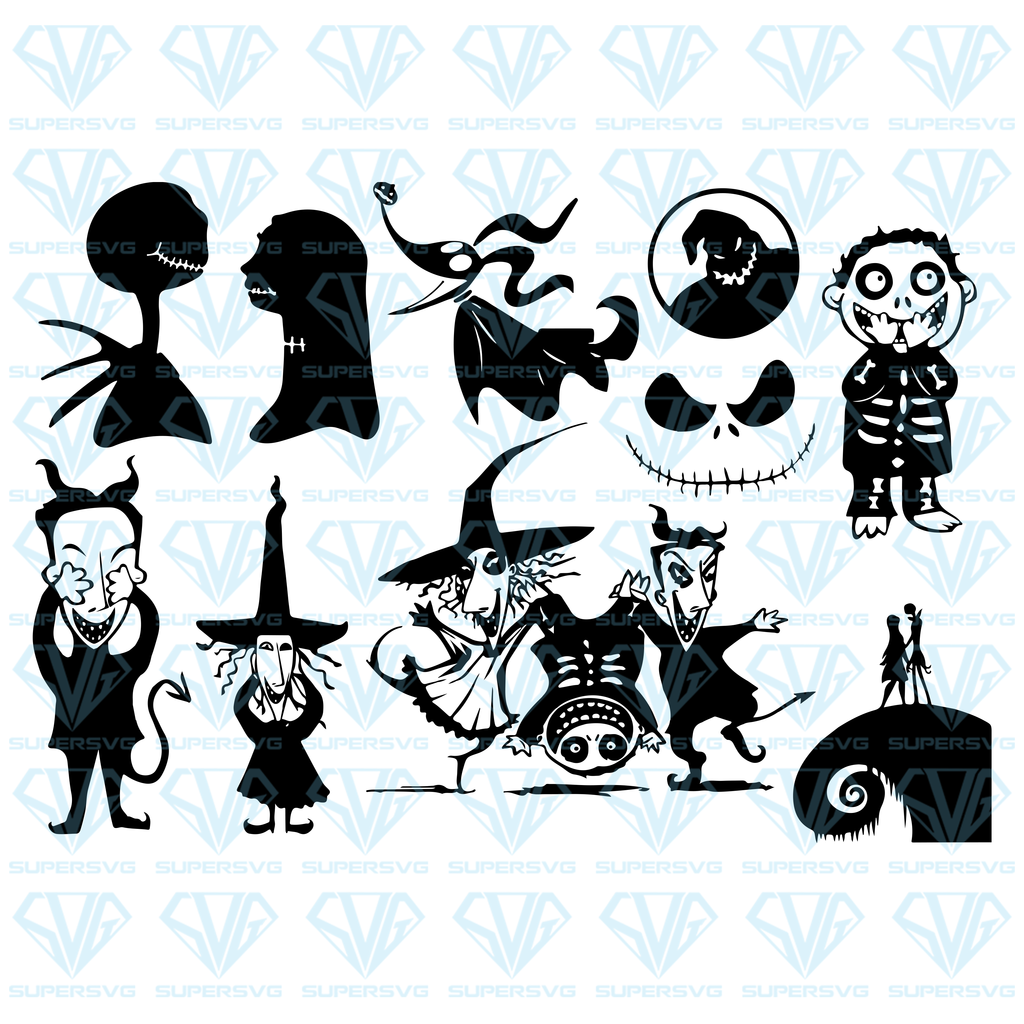 Nightmare Before Christmas Bundle Svg Files For Silhouette Files For Cricut Svg Dxf Eps Png Instant Download Supersvg Nightmare Before Christmas Drawings Nightmare Before Christmas Tattoo Nightmare Before Christmas Tree