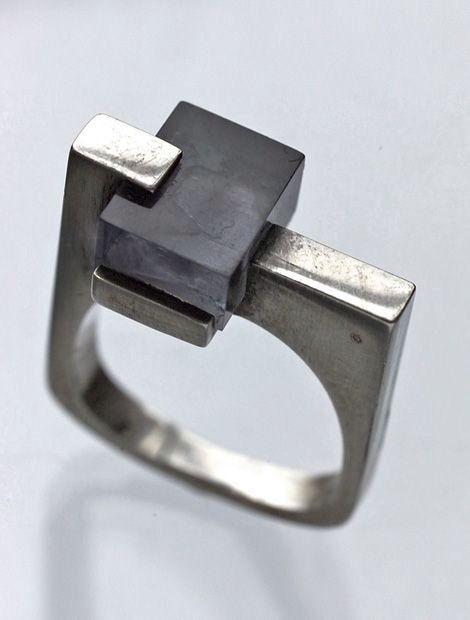 Bauhaus inspired ring Sieraden ringen, Zilveren sieraden
