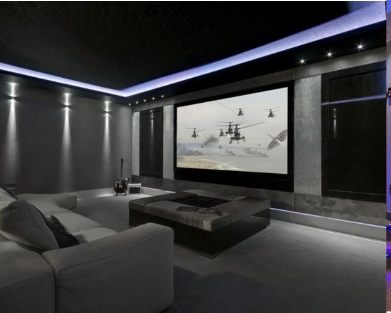 Love The Black Grey And Pretty Purple Light Home Cinema Room Home Theater Rooms Home Theater Seating
