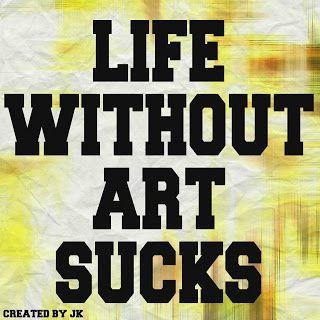 Mijn T-shirt-prints: Life Without Art (Sucks)
