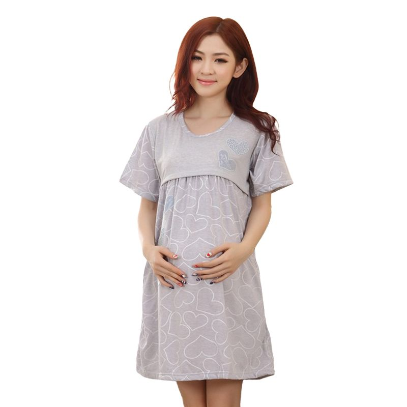 Women Maternity Dress For Pregnancy Short Sleeve Dress Mother Clothes Sleepwear