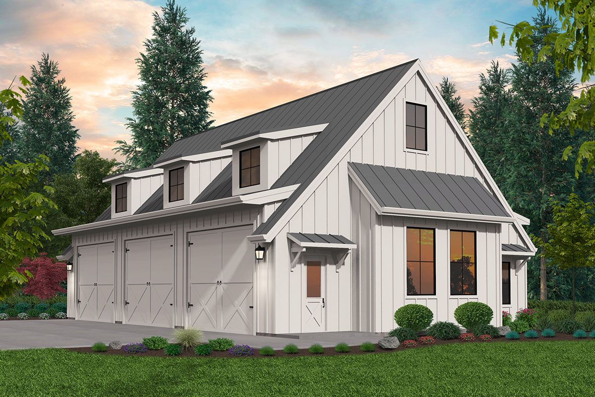 Plan 85327ms Modern Farmhouse Style 3 Car Detached Garage Plan In 2020 Garage Plans Detached Detached Garage Designs Garage Plans With Loft