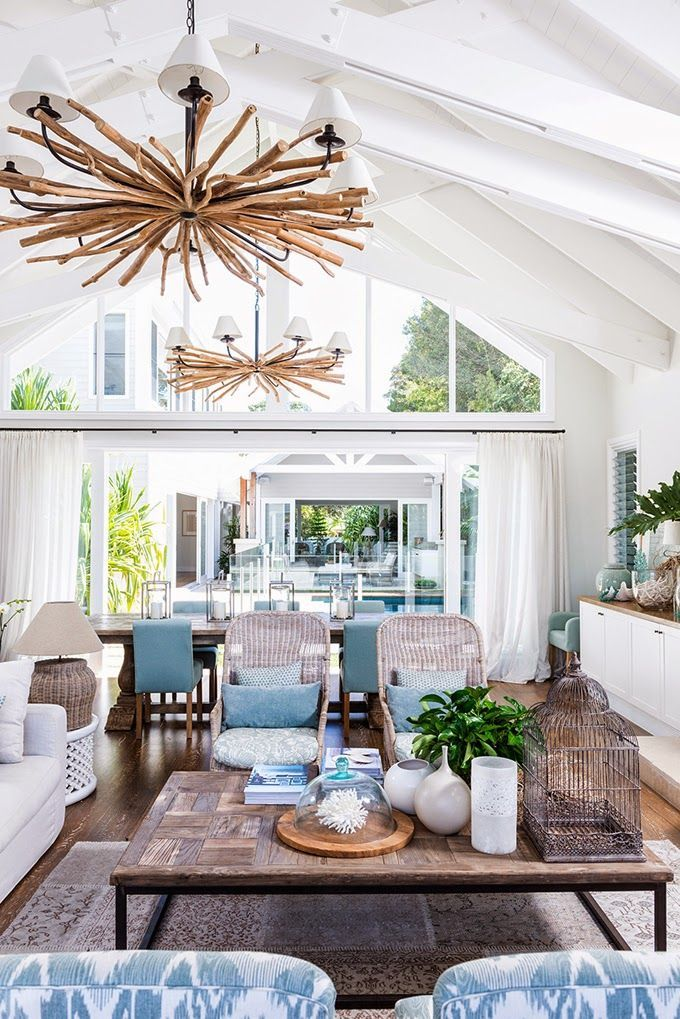 House of Turquoise: Cove Interiors - Australian beach coastal relaxed style living room with wicker chairs, pitched ceiling, white walls, turquoise accents