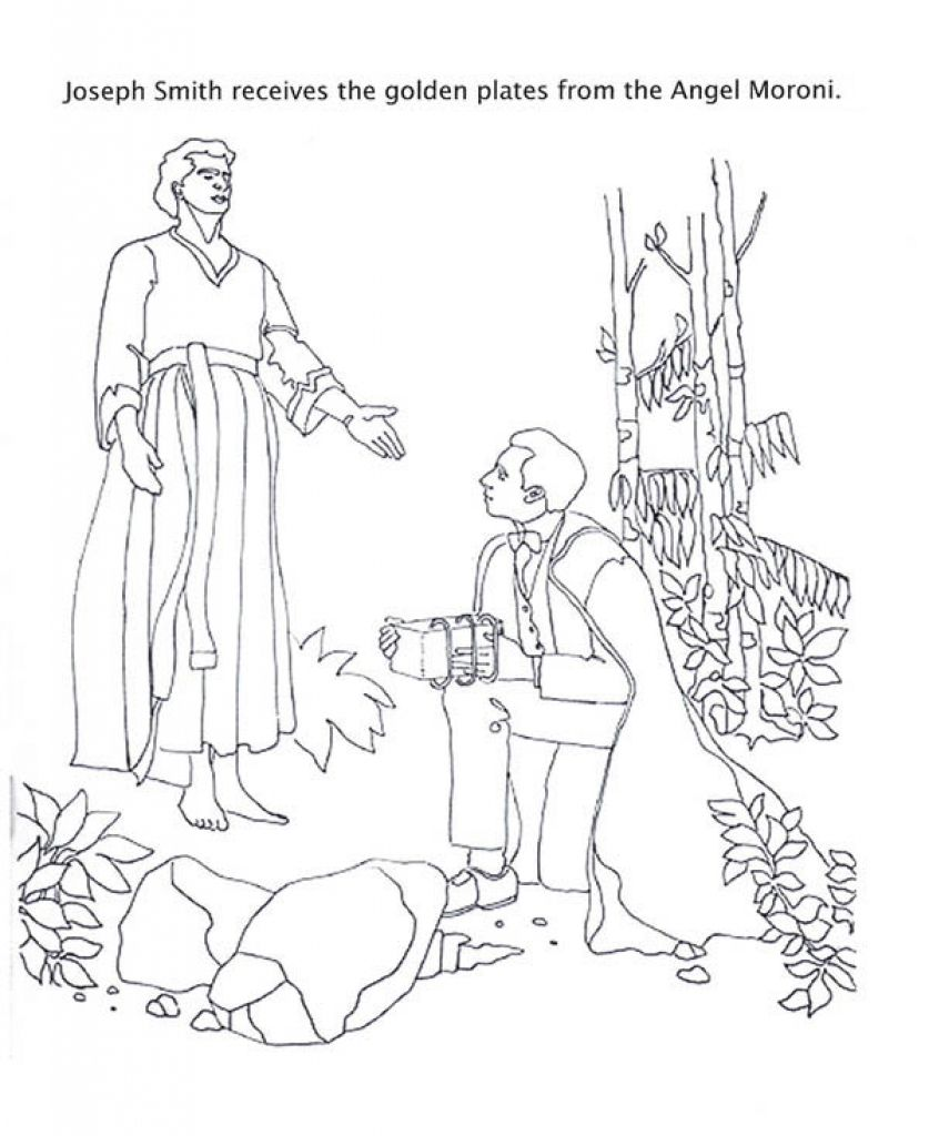 Angel Moroni Give Joseph Smith The Golden Plates Coloring Page ...