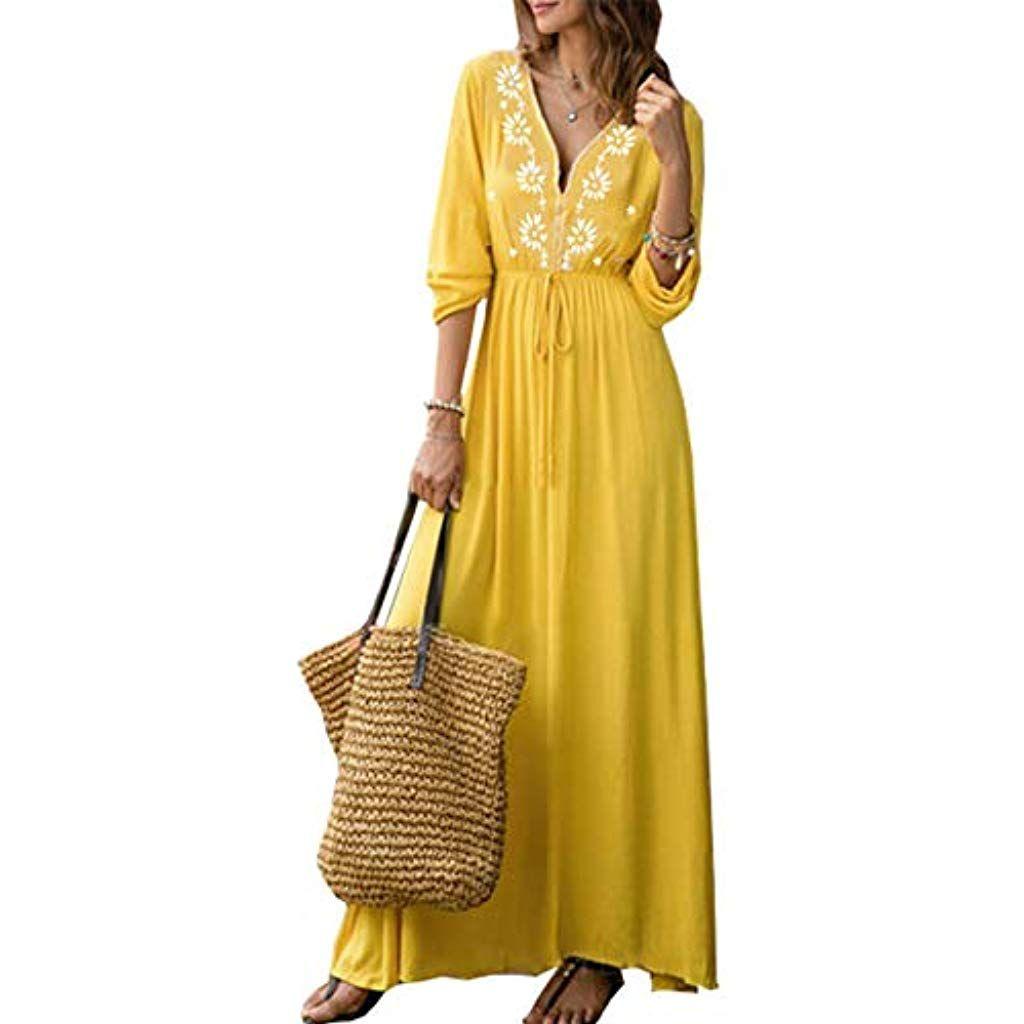 9da8b609170bbc HAHAEMMA Damen Kleider Maxikleid Lose Kleid Langarm Retro Leinen Baumwolle  Lange Kleider Elegante Bluse Breite Beiläufige