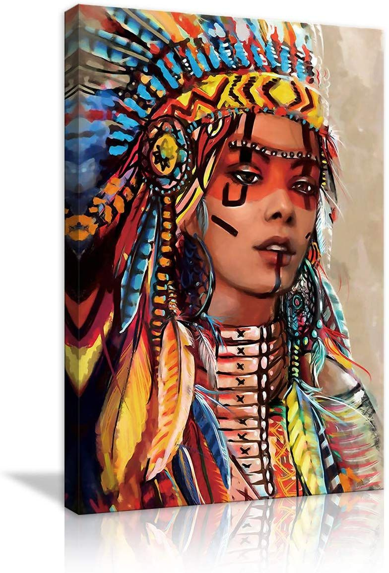 Native American Wall Art Canvas Paintings Indian Woman Girl Colorful Feathered Prints And Posters Native American Wall Art Native American Tattoo Designs Art