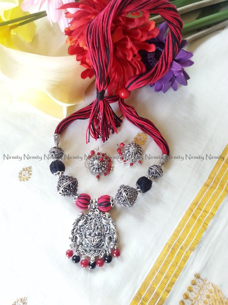 Photo of Oxidized jewelry indian-Red and black beads thread jewelry-thread jewelry-ganesha pendant – thread necklace-dori necklace