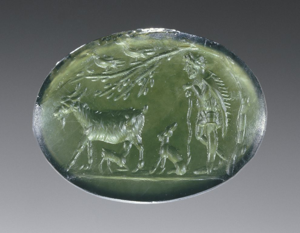 Engraved Gem; Unknown; Roman Empire; late 1st century; Chrome chalcedony; 1.5 x 1.1 x 0.3 cm (9/16 x 7/16 x 1/8 in.); 85.AN.370.50