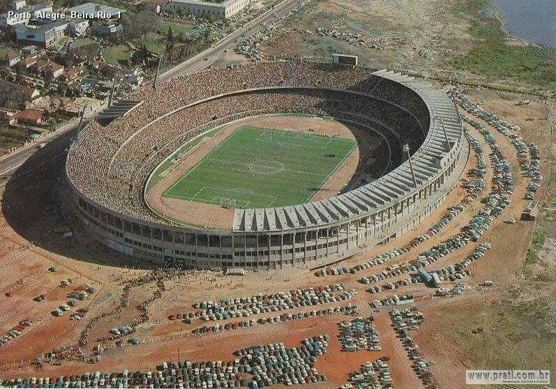 Estádio Beira-Rio, Porto Alegre, Brasil.  Internacional stadium next to lake Guaiba.