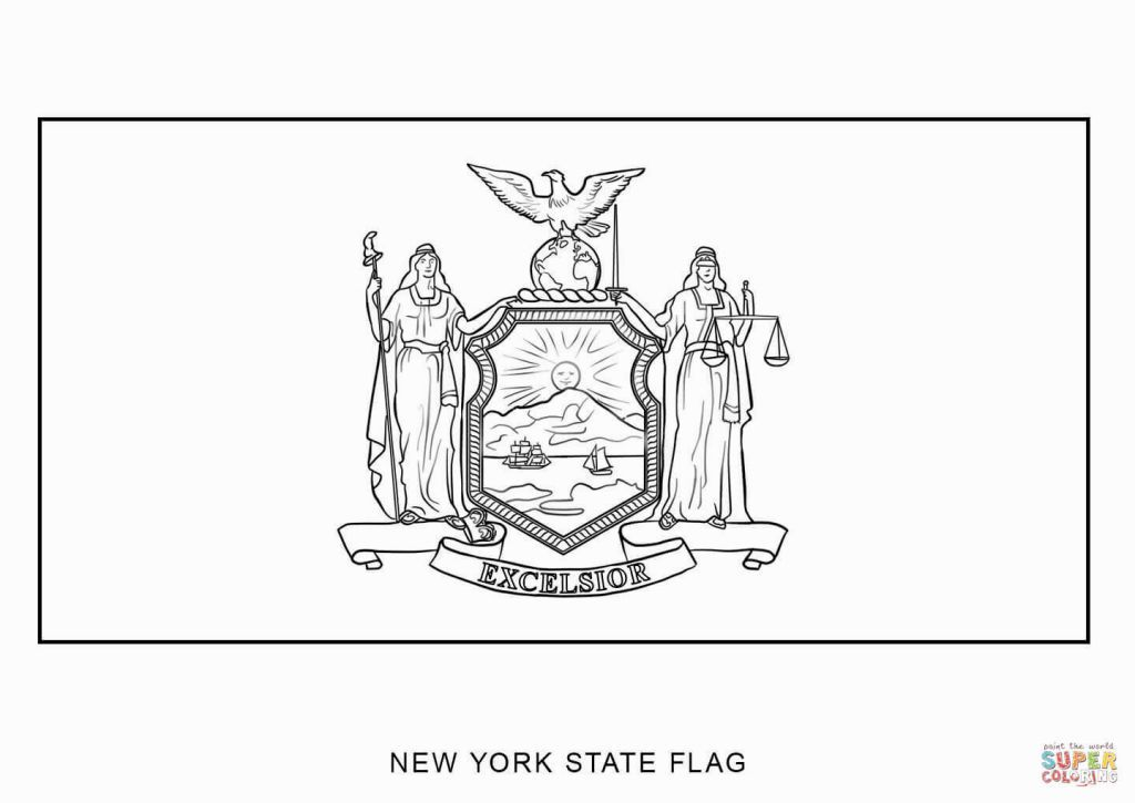 New york state flag coloring page american flag coloring