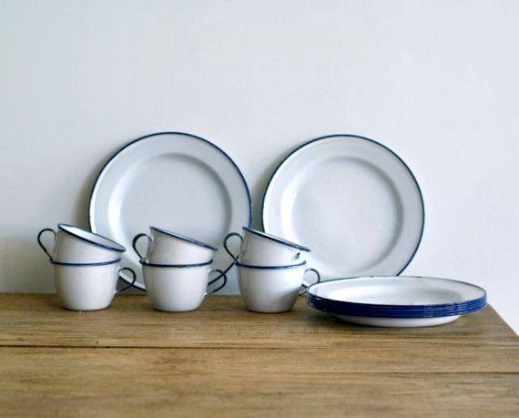 Vintage KER Sweden White Enamel Ware Cups And Plates Set