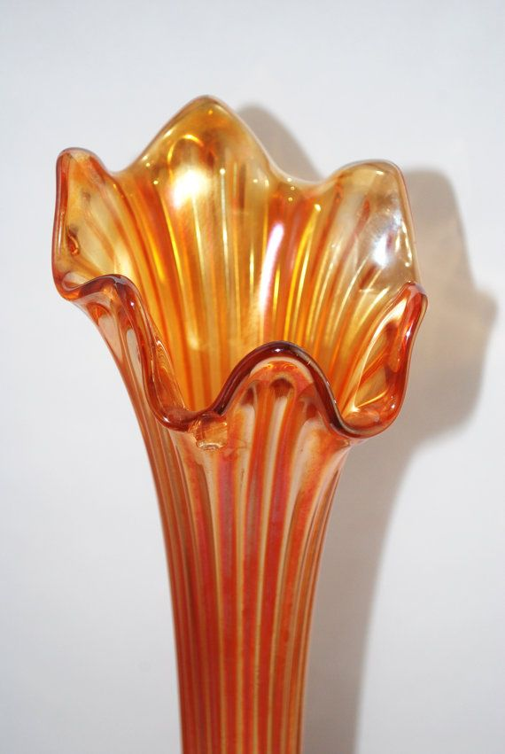 Tall Vintage Orange Carnival Glass Fluted Vase Bornagain Home