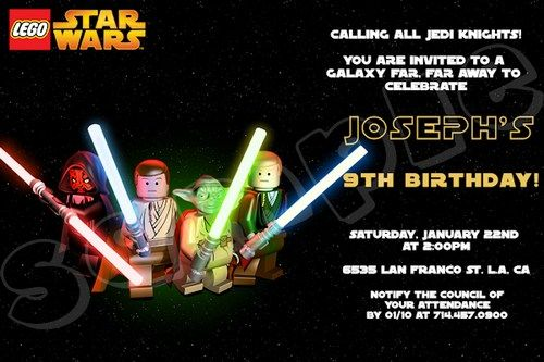 Lego Star Wars Invitation 4x6 / 5x7 Digital File DIY | Star wars ...