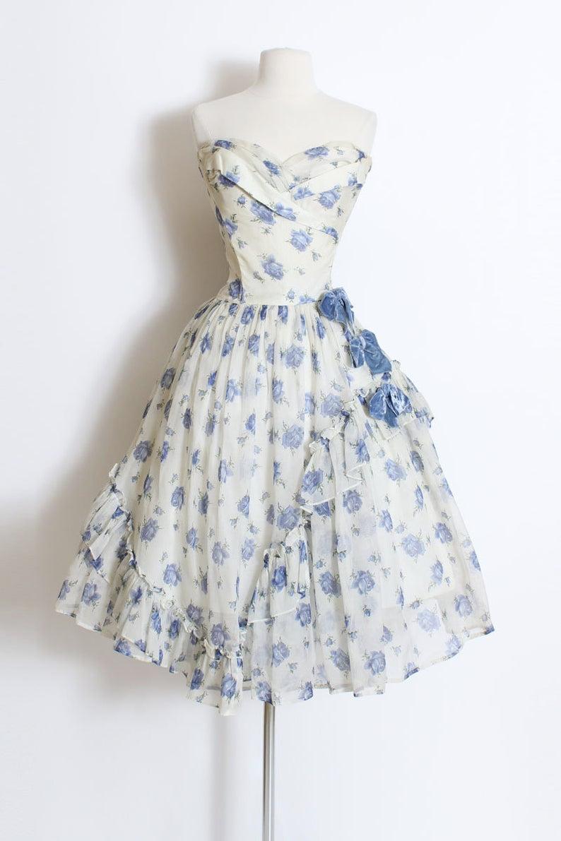 Vintage 1950s 50s Dress Blue Rose Emma Domb Organza Dress Etsy Vintage 1950s Dresses Dresses Frock Design