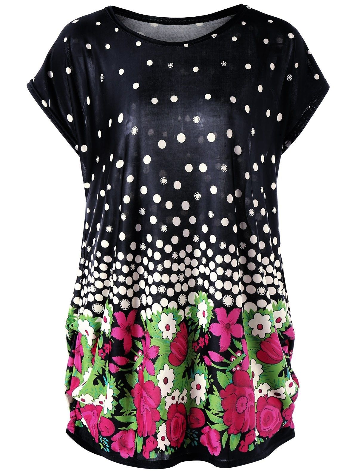 ddd2dcad69 Plus Size Floral and Polka Dot Baggy Top | Tops For Her | Baggy tops ...