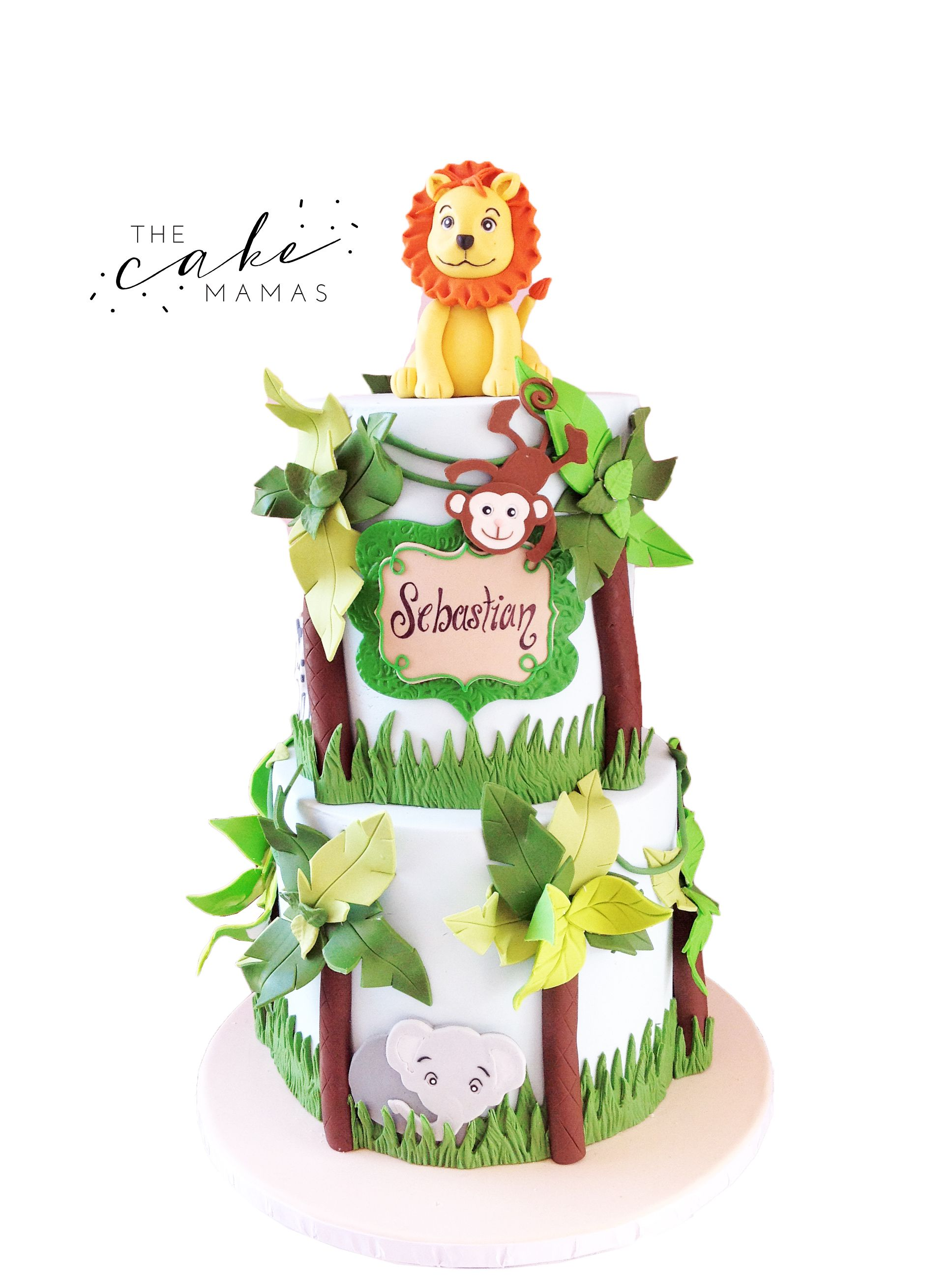 Jungle Animal Birthday Cake Call Or Email To Order Your Today Animals Lion Elephant Monkey Safari Cakedesign