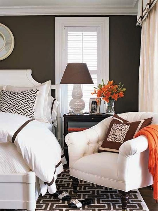 Bedroom: Crisp white, brown with a pop of orange. | Remodel project ...