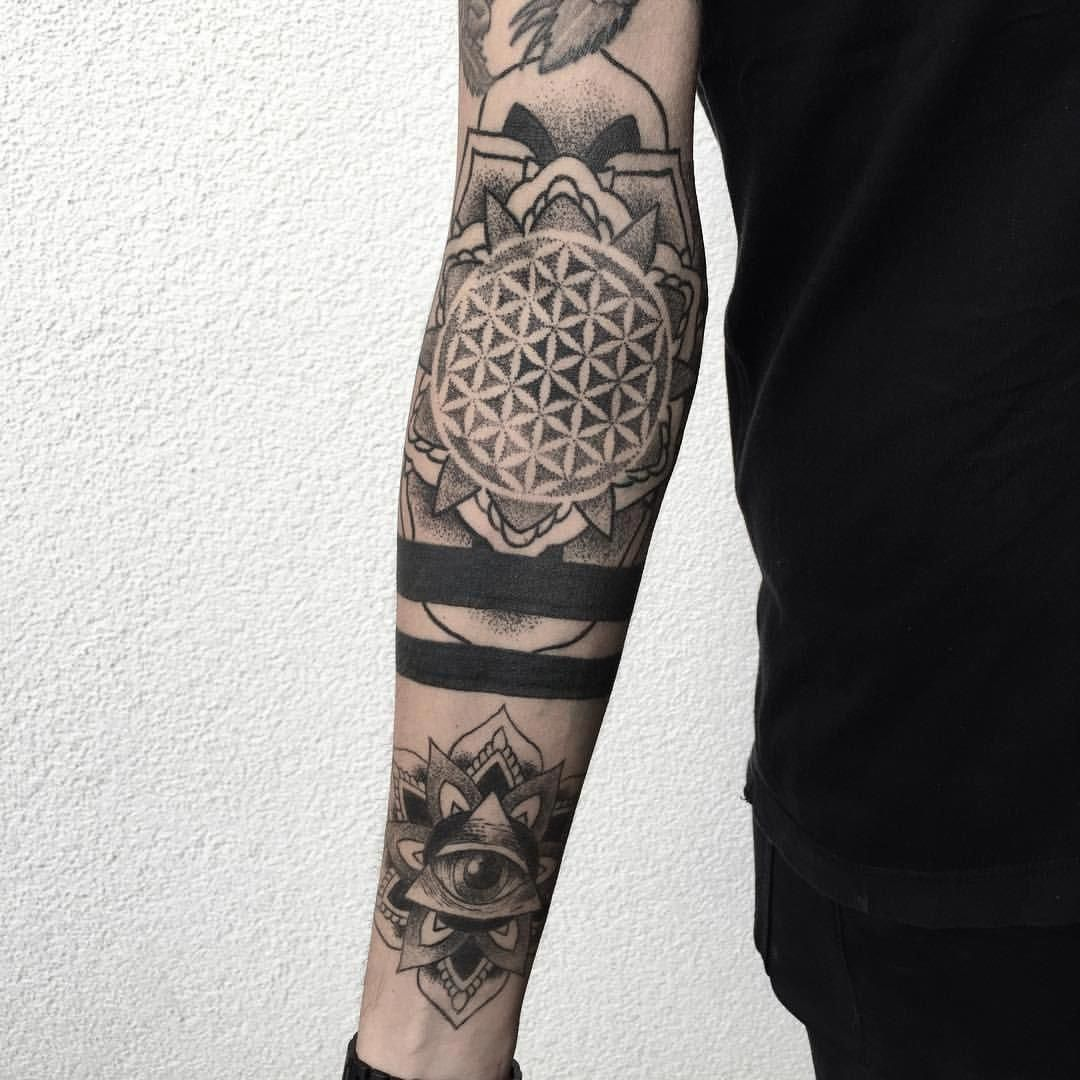 Dotwork Tattoos Mandala All Seeing Eye Geometric Tribal Tattoo Sleeve Tattoos Mandala Arm Tattoos