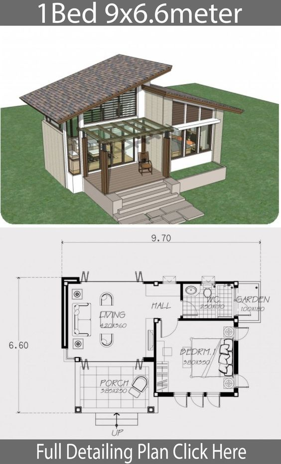 Small home design plan 9x6.6m with one bedroom - #9x6.6m #Bedroom #design #Home #One #plan #small #with