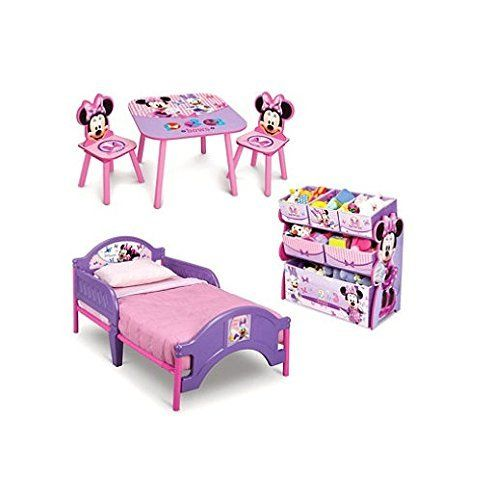 Product Review For Minnie Mouse Toddler Bedroom Furniture 3 Piece Set Girls Pink Bed With Multi Bin Toy Box And Kids Art Table