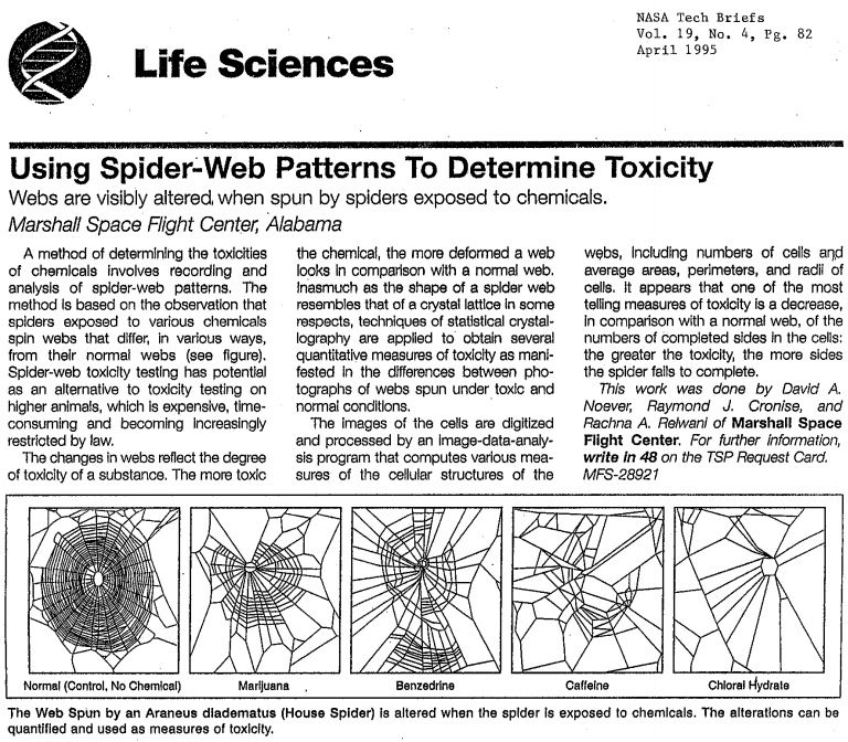 Spiders webs are visibly altered when exposed to different chemicals. Super interesting.