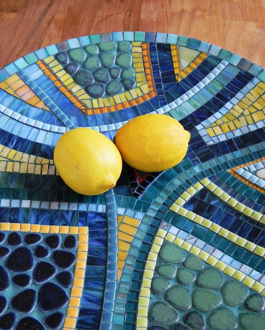 Mosaic Art - Mediterranean Blue Mosaic Dish, Mosaic Bowl, Large ...