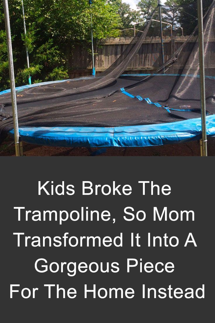 Here are some brilliant ways to upcycle a broken trampoline into a gorgeous piece for the home. It will be a great decoration! #trampoline #upcycle