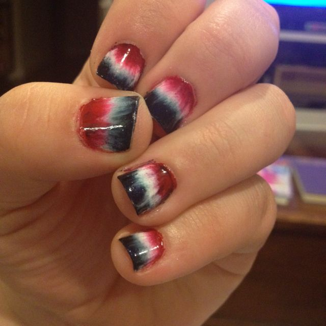 Tie-dye 4th of July nails. Sponge paint with a top coat to blend it ...