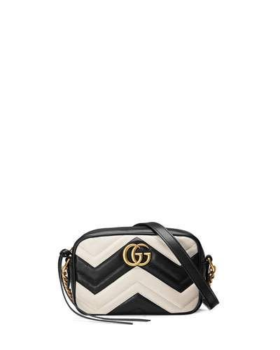 0c3091f5f32c Gucci Handbags, Totes & Satchels at Neiman Marcus. GG Marmont Mini  Matelassé Camera Bag, Black/White