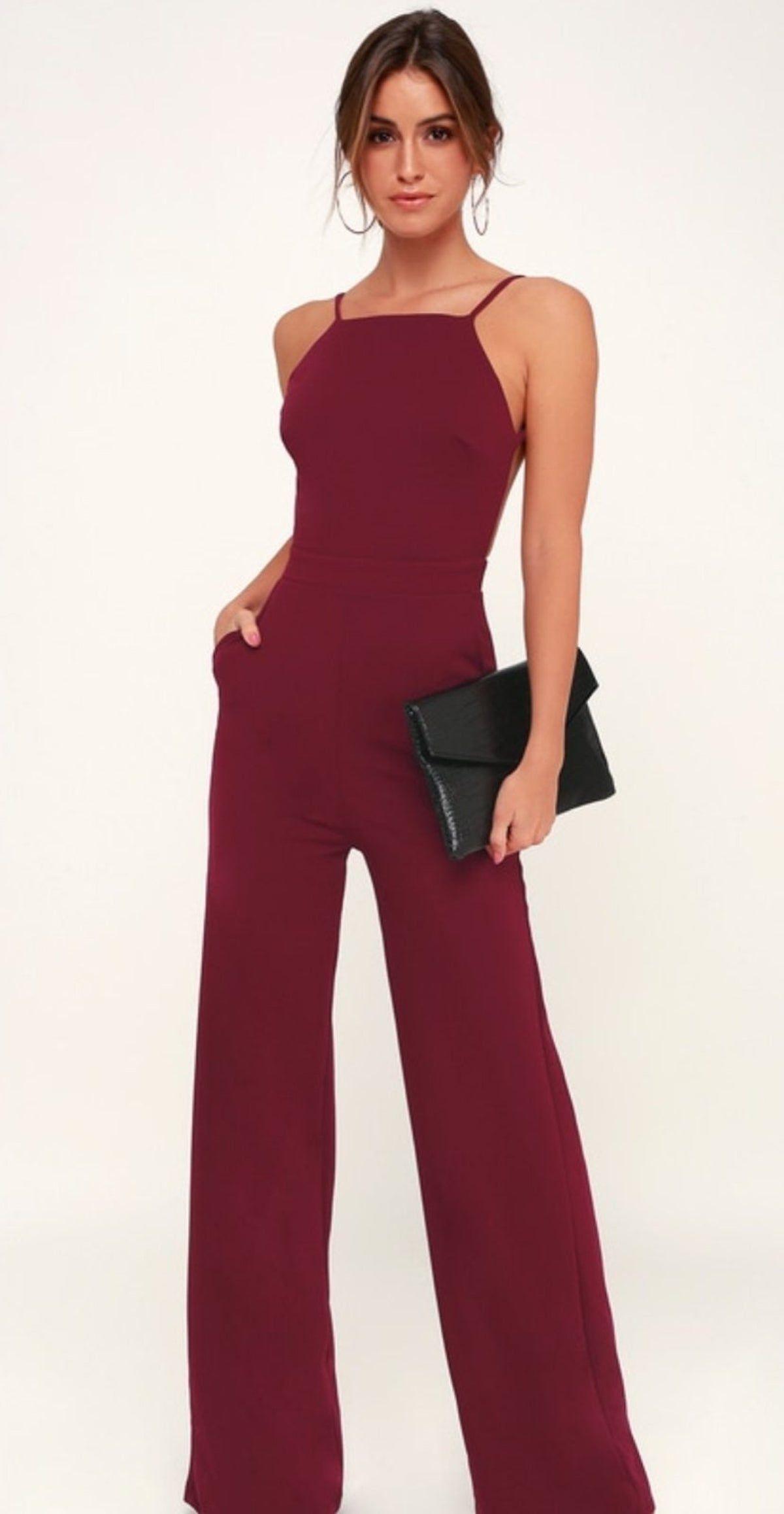 Power Of Love Wine Jumpsuit In 2020 Classy Jumpsuits For Weddings Classy Jumpsuit Jumpsuit Outfit Wedding