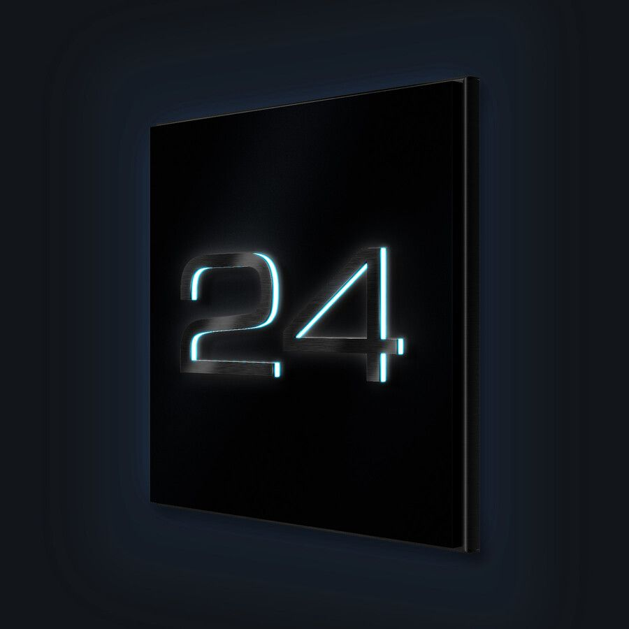 Hausnummernschild Anthrazit Matt Led Beleuchtung In 2020 Hausnummernschild Neonschild Led