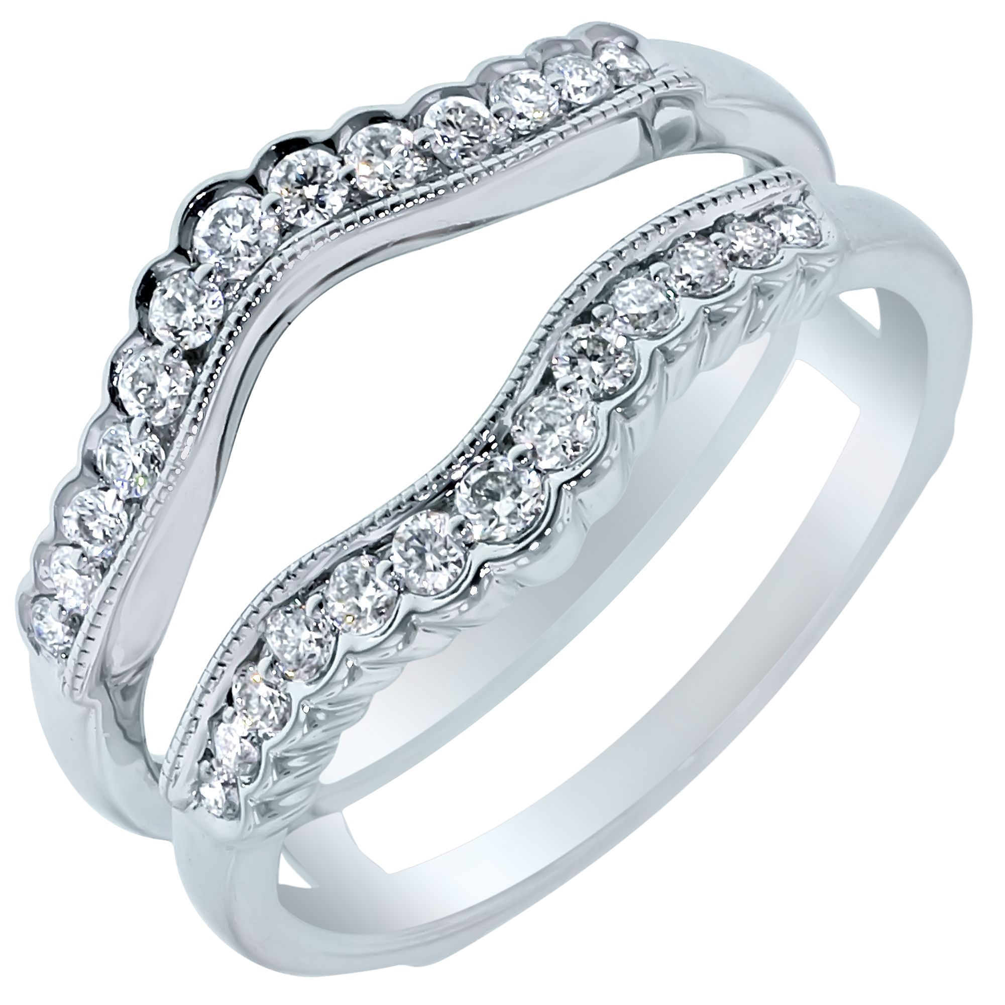 Vintage Style Engagement Ring Insert 14k White Gold Diamond Wedding Band 1 4ctw Vintage Style Rings 14k White Gold Engagement Rings Diamond Wedding Bands