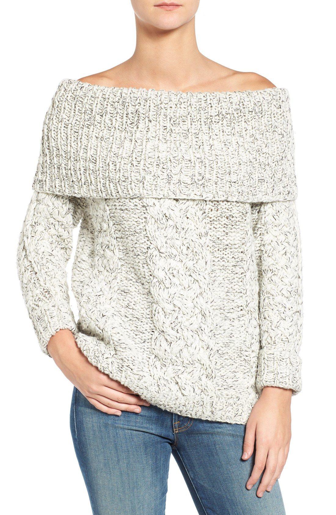 Off the Shoulder Cable Knit Sweater | Stitch Fix | Pinterest ...