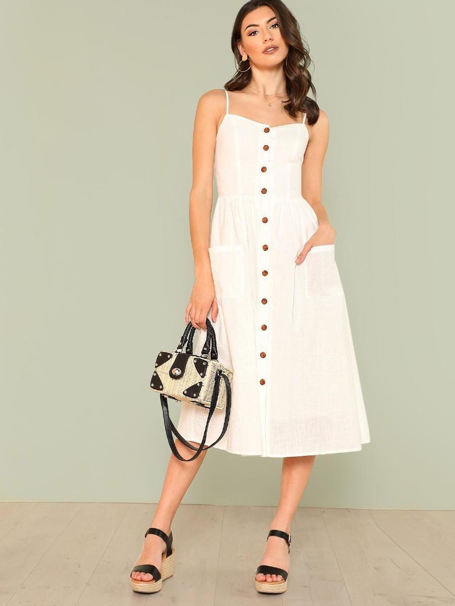 0fc39914d9 Pocket Patched Button Up Cami Dress -SheIn(Sheinside)