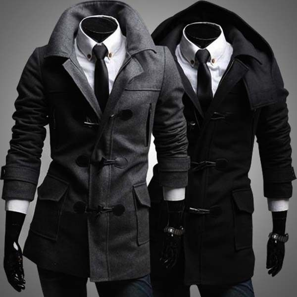 Men's Fashion Double Breasted Horn Button Trench Coat Long Jacket via martEnvy. Click on the image to see more!
