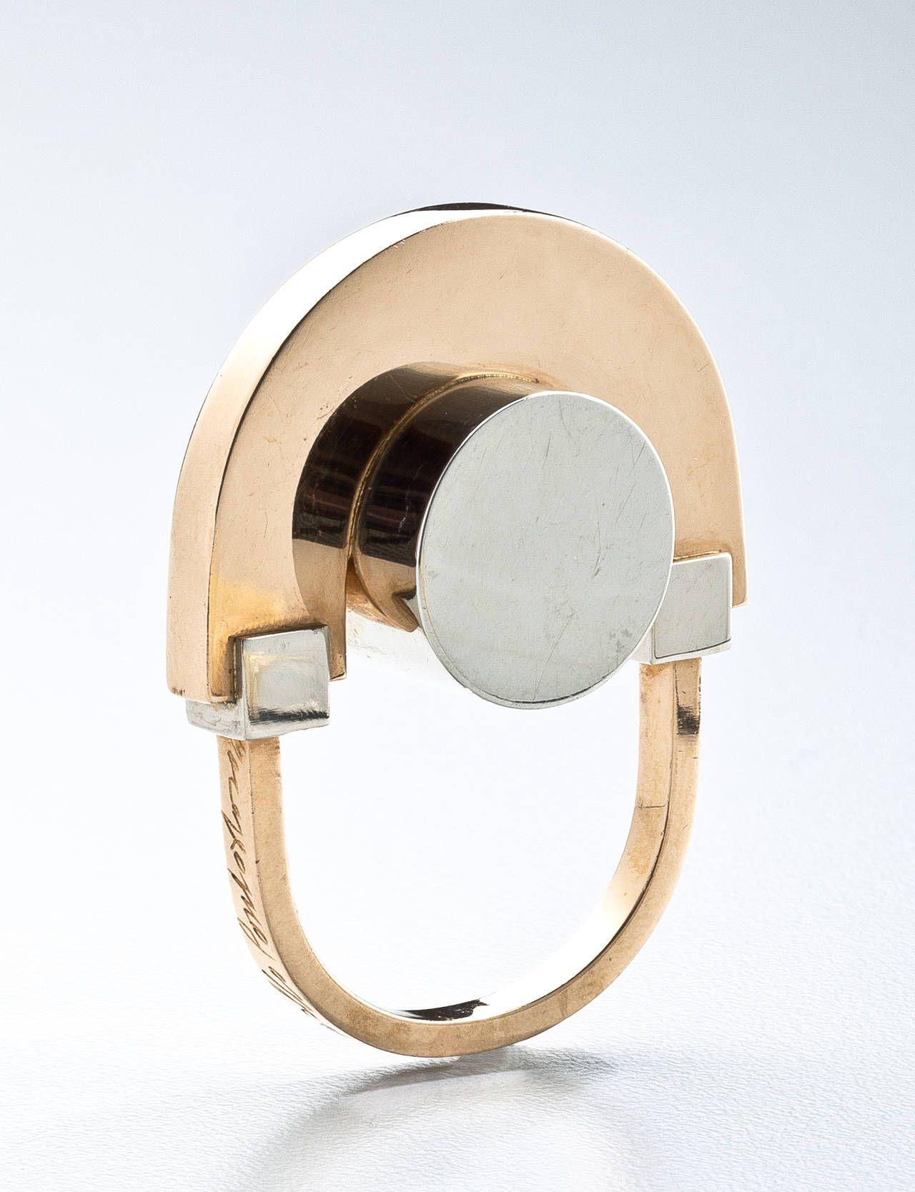 Arnaldo Pomodoro  White and Yellow Gold Ring c.1967 2