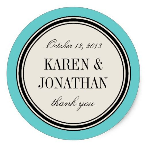 Round Vintage Label, Wedding Favor Template, Blue Classic Round - wedding labels template