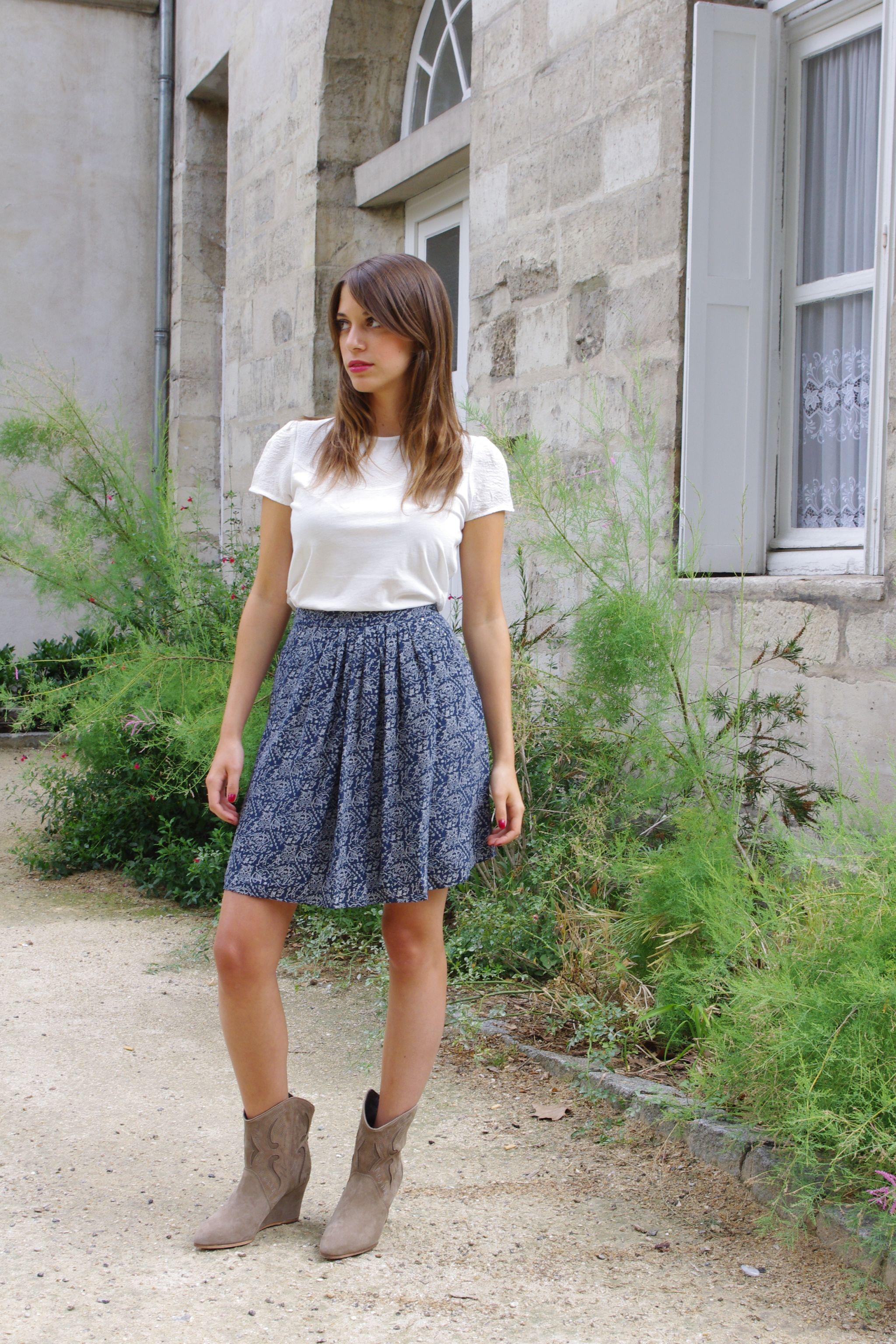 Levana For Comptoir Des Cotonniers Poudre Shirt Perlon Skirt Pepite Boots