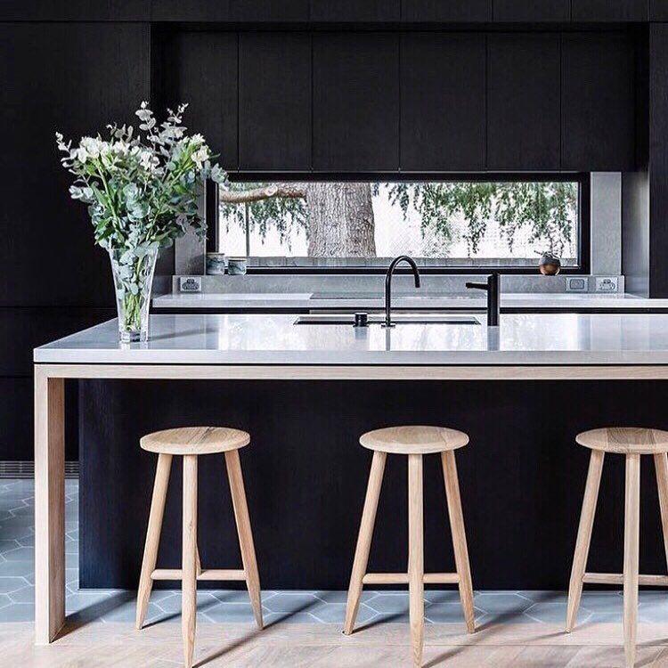 Black Kitchen Goals By Georgia Ezra Captured By Ameliastanwix Melbourne Melbournein Timber Kitchen Contemporary Kitchen Modern Kitchen Island