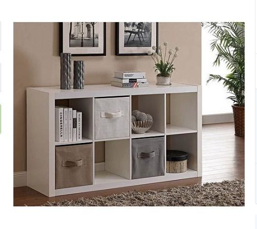 8 Cube Storage Bookcase White Modern Wood Organizer Home Office Furniture Dorm