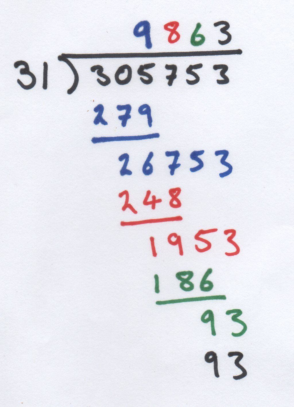 Long Division Using Different Colours To Show Work