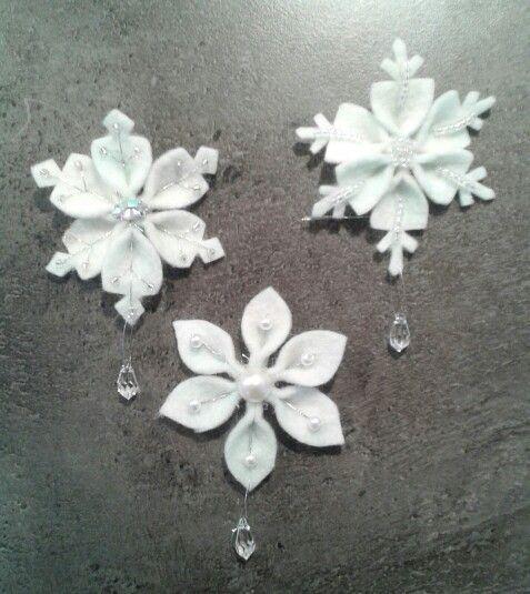 White Felted Snowflake Ornament Wool Felt Crochet