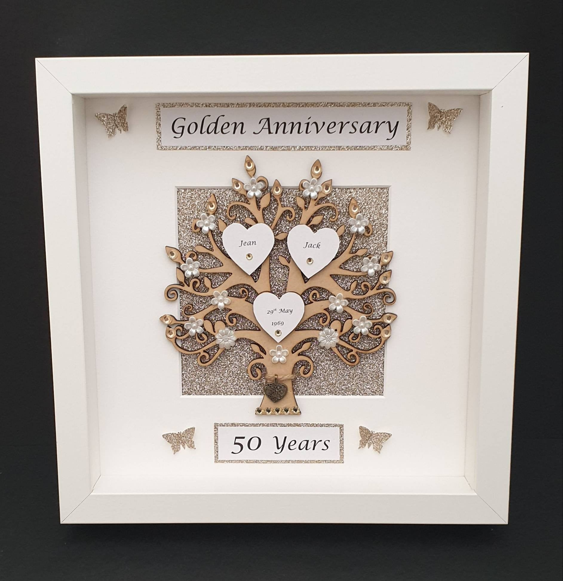 50th golden wedding anniversary frame keepsake gift