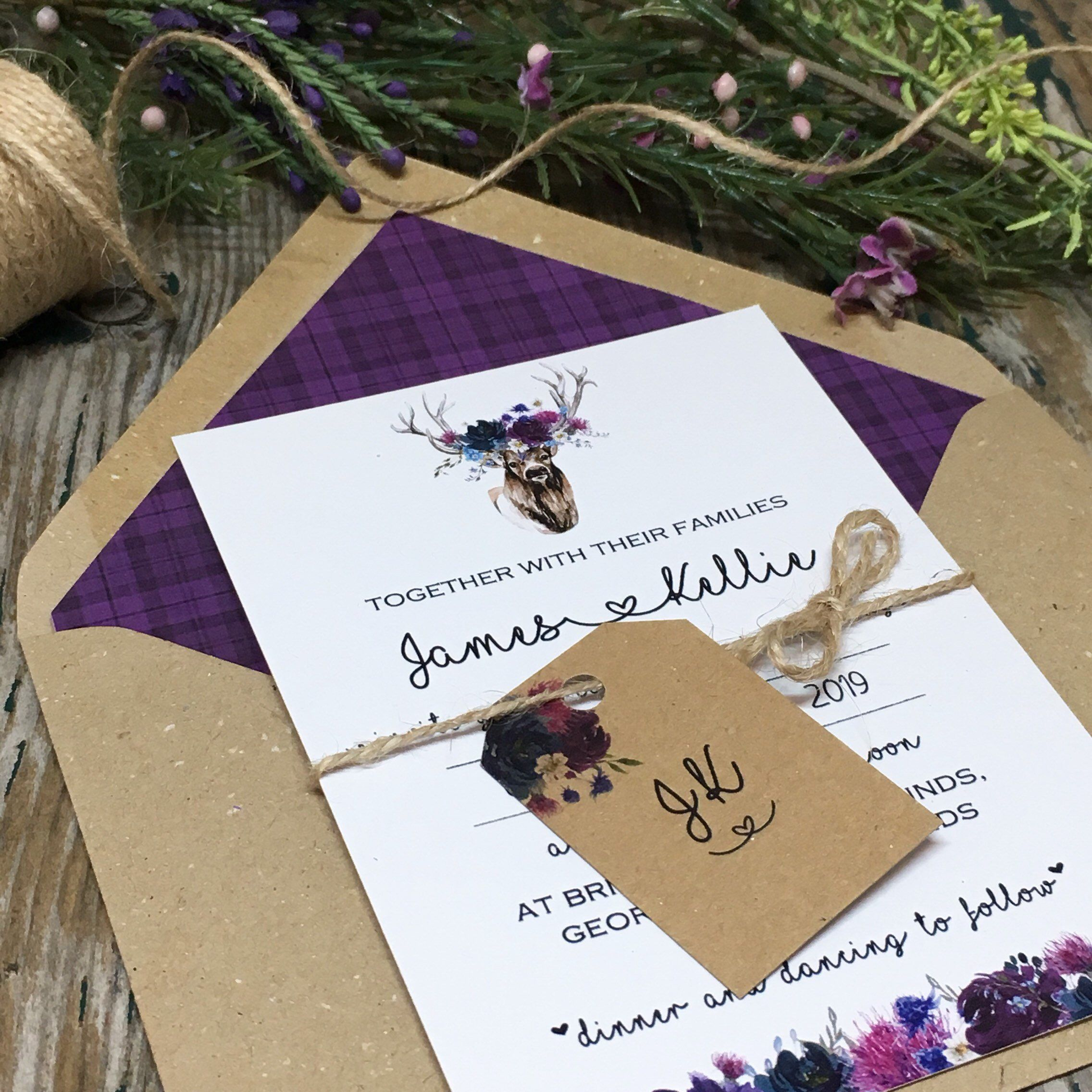 Wedding Invitations With Purple Tartan