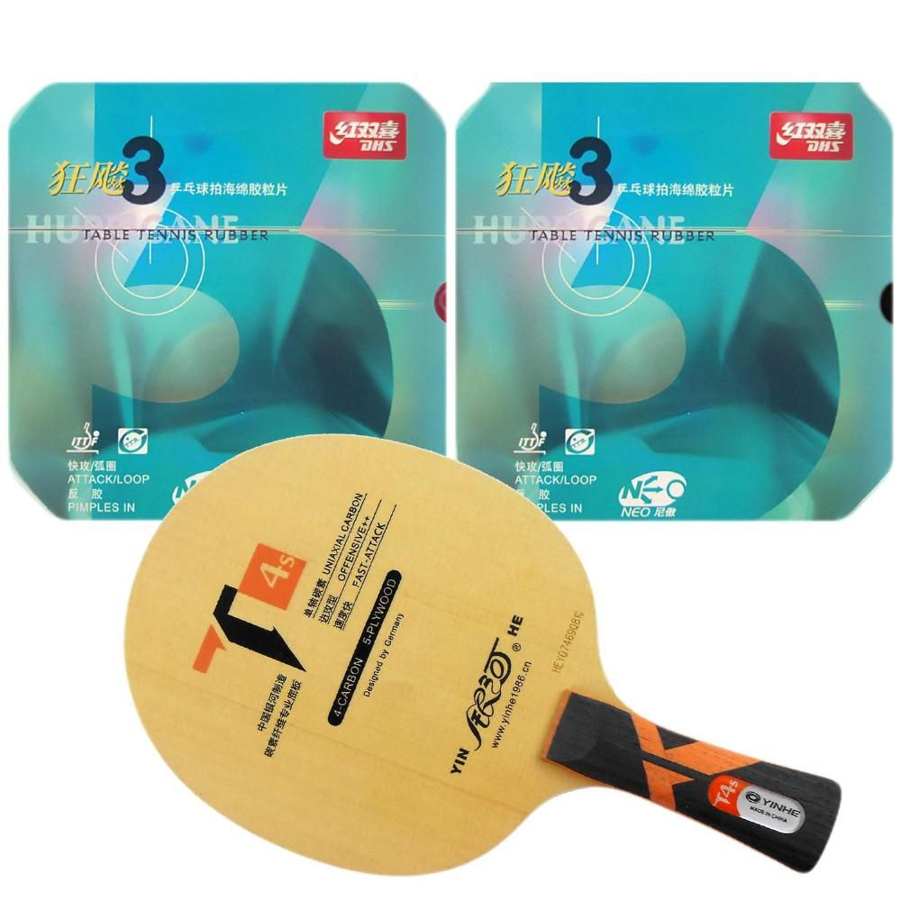 Pro Table Tennis Pingpong Combo Racket Galaxy Yinhe T4s With 2x Dhs Neo Hurricane 3 Rubbers Long Shakeh Table Tennis Table Tennis Racket Table Tennis Rubber